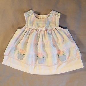 Samara bow heart flower gingham overall baby dress